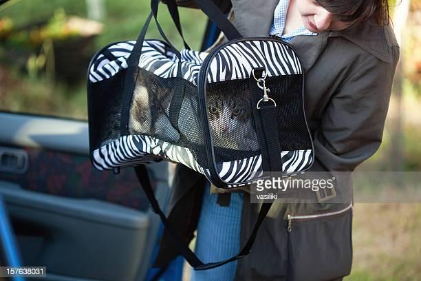 Femme avec Panier de voyage