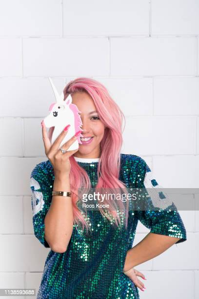 woman with pink hair - phone cover stock pictures, royalty-free photos & images