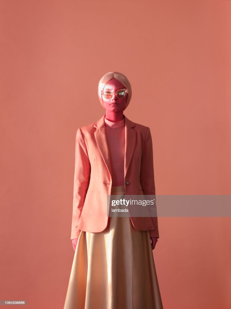 Woman with pink skin and pink eye glasses : Stock Photo