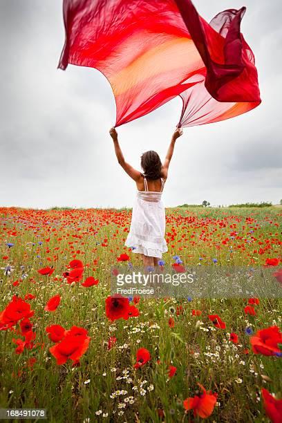 mujer con flores de amapola - pañuelo rojo fotografías e imágenes de stock