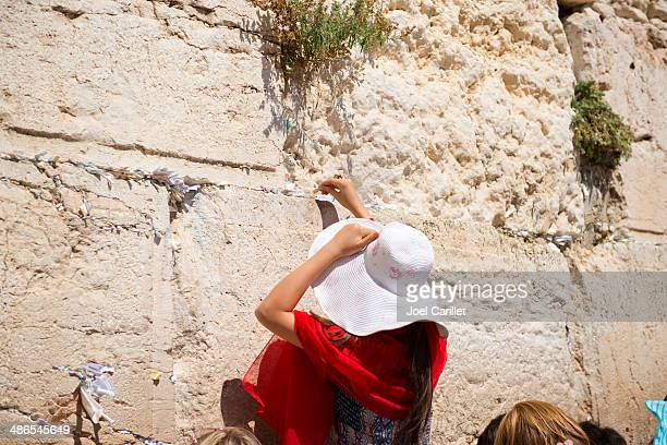 woman with prayer at the western wall - israeli woman stock pictures, royalty-free photos & images