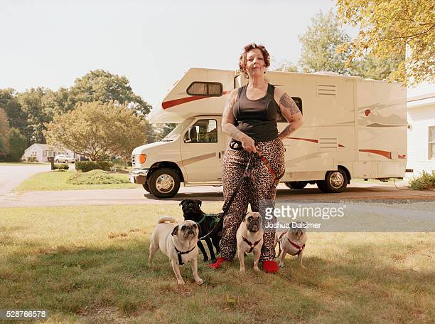 Woman with pugs