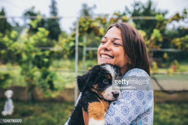 woman with puppies - i love you stock pictures, royalty-free photos & images