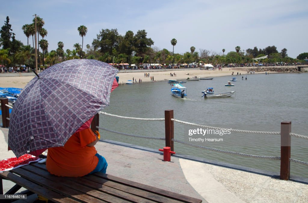 Woman with purple patterned umbrella on a park bench overlooking beach and boats on Lake Chapala; Chapala, Jalisco, Mexico : Stock Photo