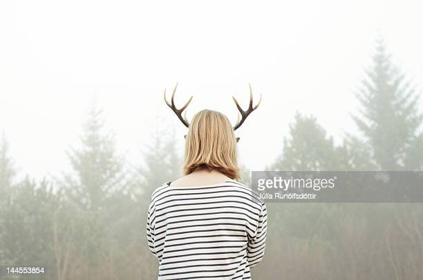 Woman with reindeer horned