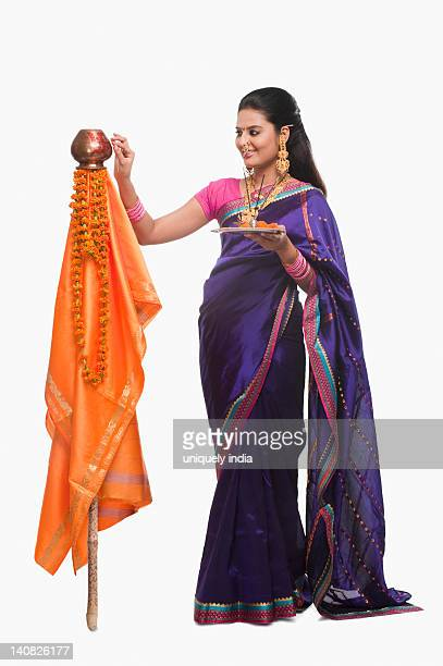 Woman with religious offerings on Gudi Padwa festival