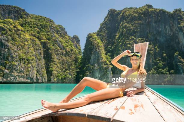 Woman with Scuba Mask, Phi Phi Islands, Thailand