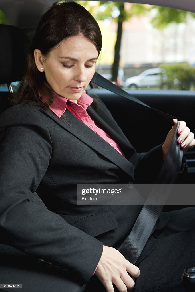 A Woman With Seat Belt In Car Sweden Stock Photo