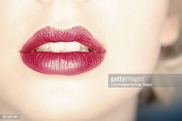 woman with sexy lips, close-up - seductive stock photos and pictures