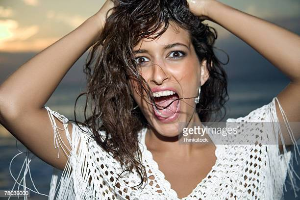 woman with shocked expression - thinkstock foto e immagini stock