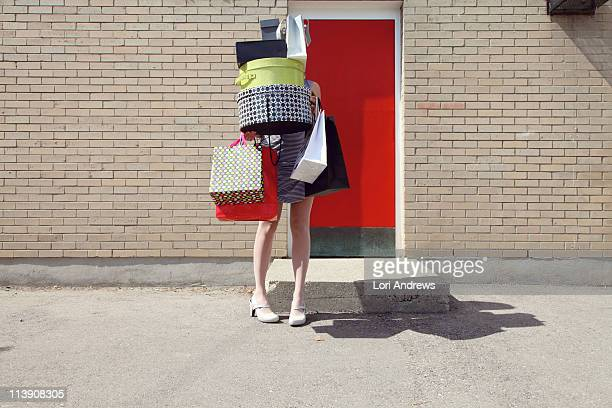 woman with shopping bags and boxes - shopping bag stock pictures, royalty-free photos & images