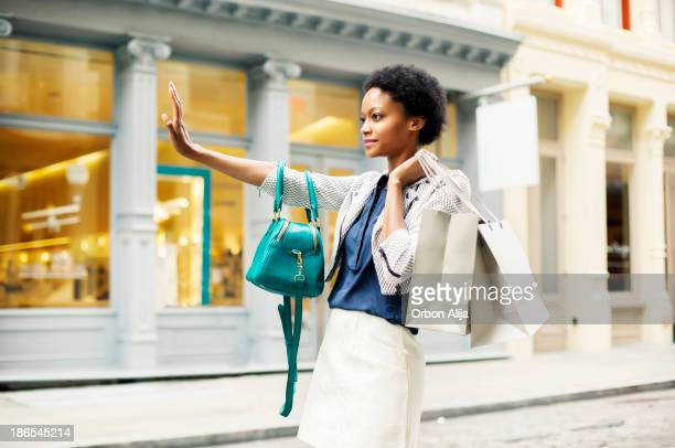 Woman with shopping bags in New York