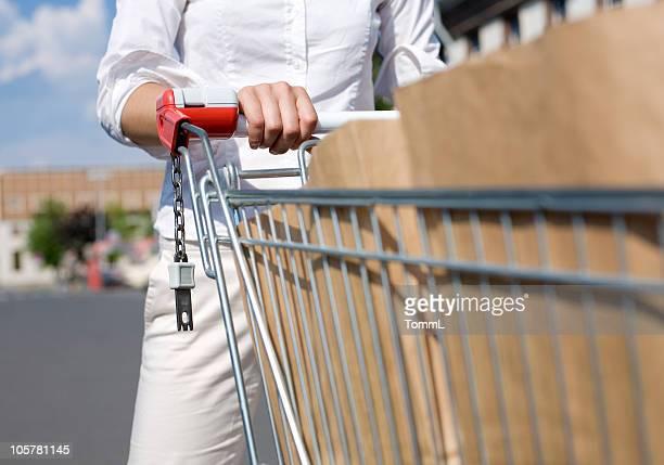femme avec panier d'achats - caddie rempli photos et images de collection