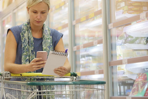 Woman with shopping trolley looking at phone and list - gettyimageskorea