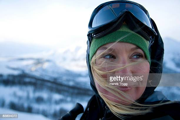 a woman with ski glasses norway. - ski goggles stock pictures, royalty-free photos & images
