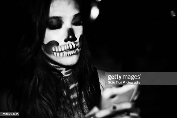 Woman with skull make-up for Halloween