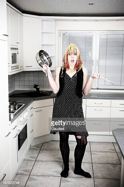 Woman with spaghettion her head
