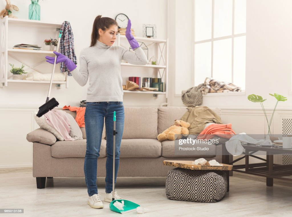 Woman with special equipment cleaning house : Stock Photo
