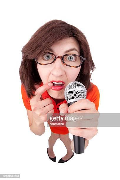 女性、ステージの恐怖 - あがり症 ストックフォトと画像