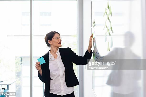 Frau mit Klebezettel
