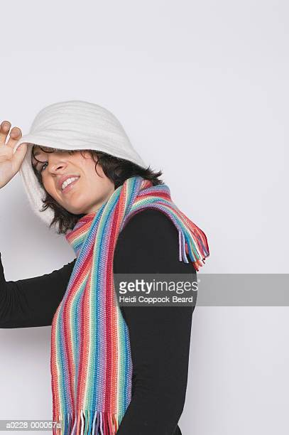 woman with striped scarf - heidi coppock beard stockfoto's en -beelden