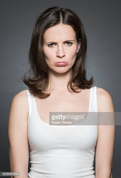 woman with sulky face expression - sulking stock pictures, royalty-free photos & images