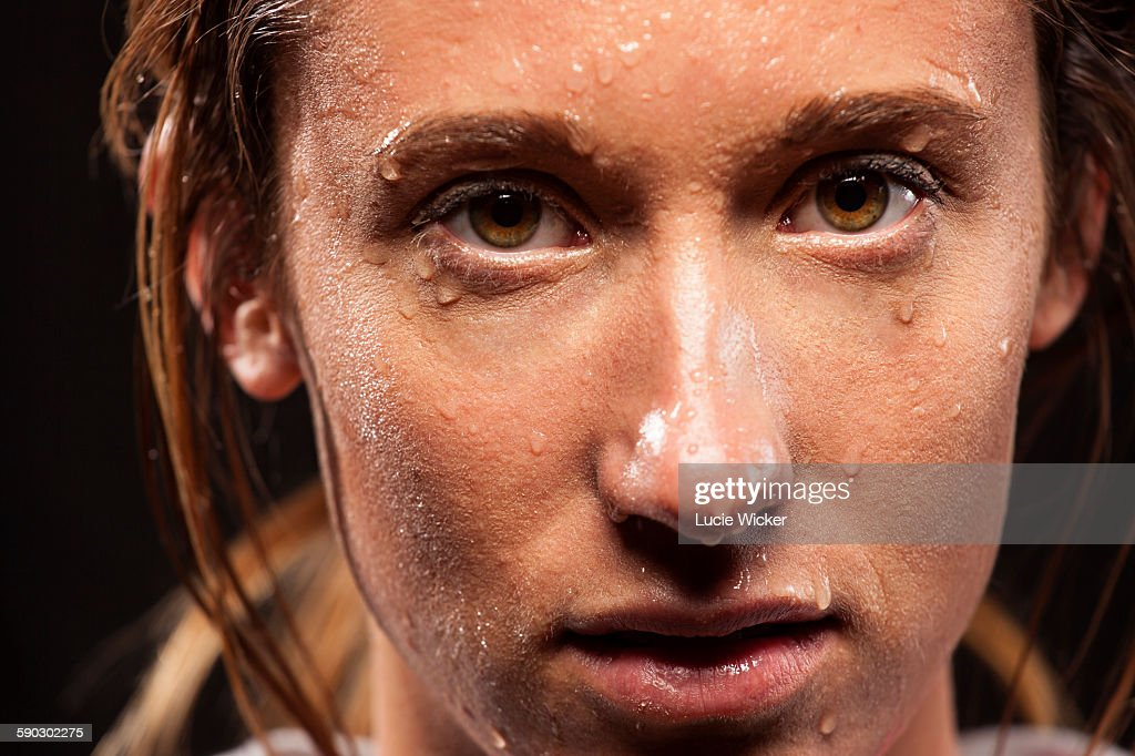 Woman with sweat on face : Foto stock