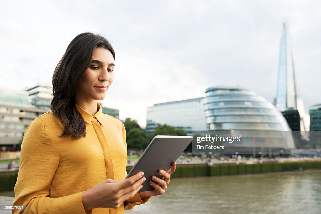 Woman with tablet : Foto de stock