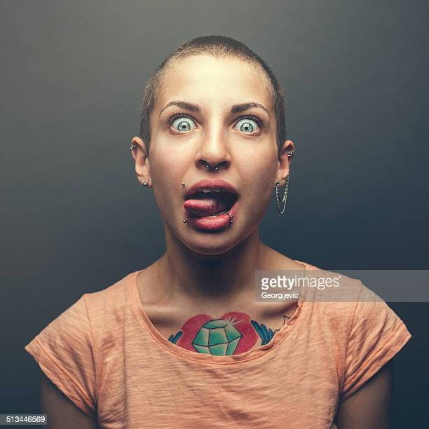 woman with tattoo - punk person stock pictures, royalty-free photos & images