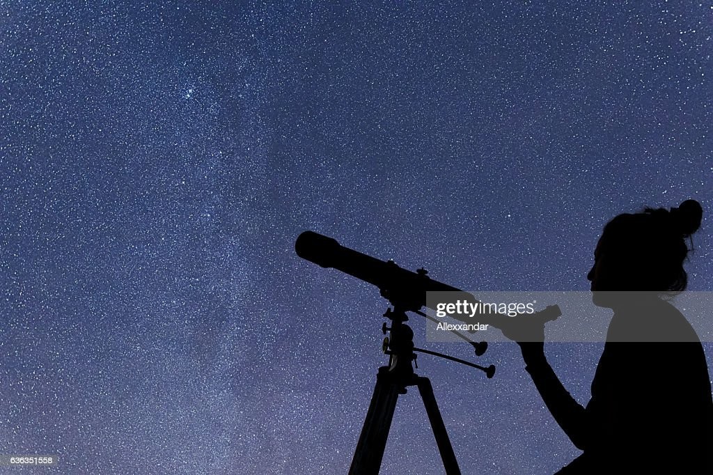 woman with telescope watching the stars stargazing woman night sky