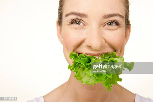 woman with the lettuce - leaf lettuce stock pictures, royalty-free photos & images