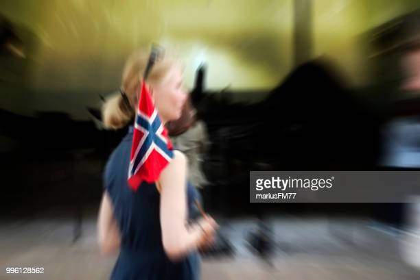 woman with the norwegian flag - norwegian flag stock pictures, royalty-free photos & images