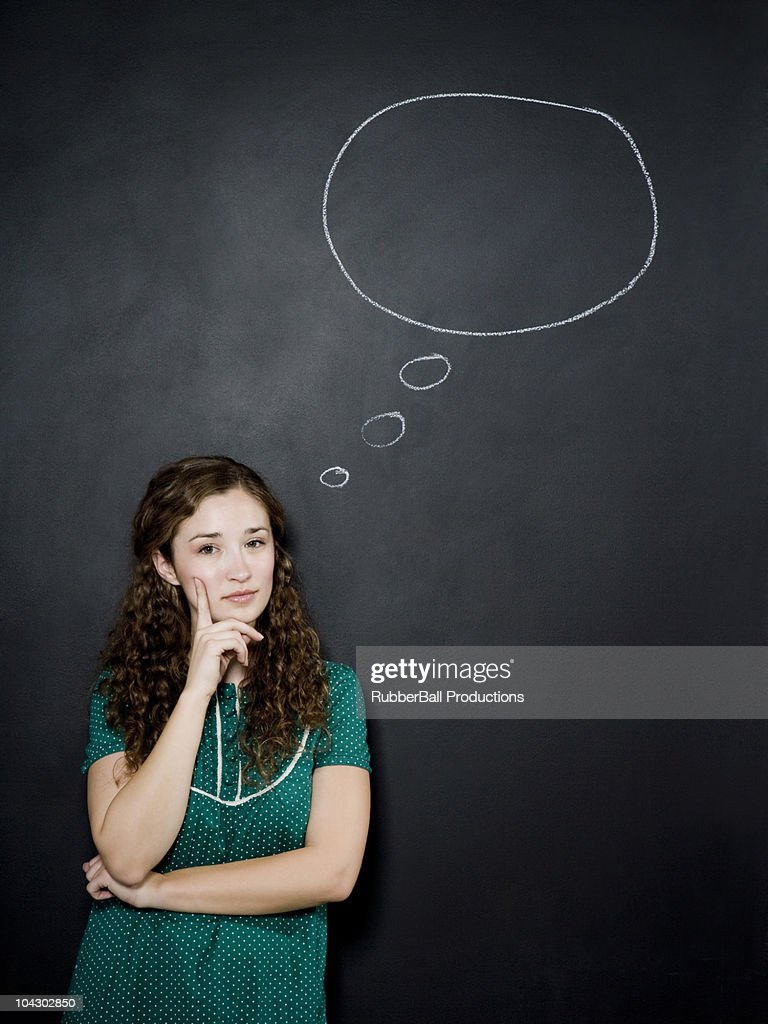 woman with thought bubble above head : Stock Photo