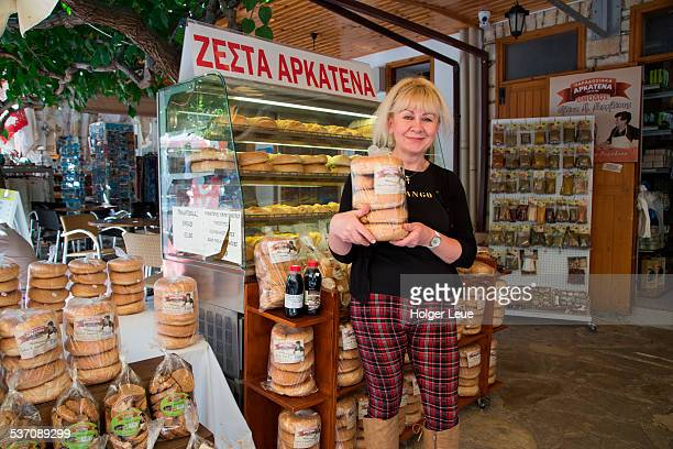 Woman with traditional breads for sale