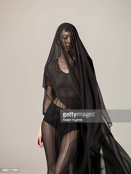 woman with translucent silk over her - veil stock photos and pictures