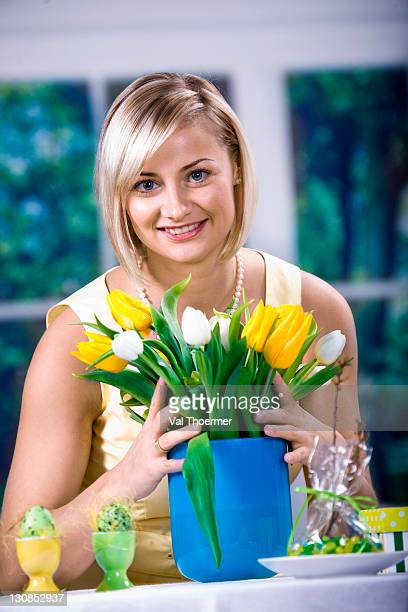 woman with tulips and easter eggs - happy resurrection day stock pictures, royalty-free photos & images