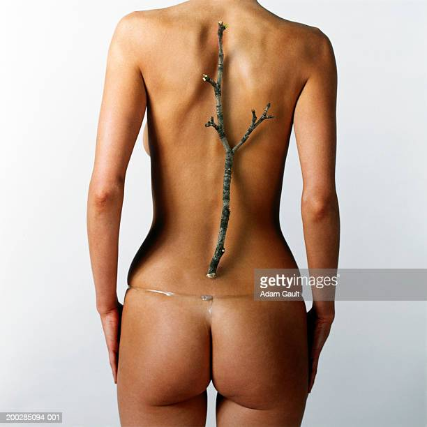 Woman with twig placed over line of backbone, rear view