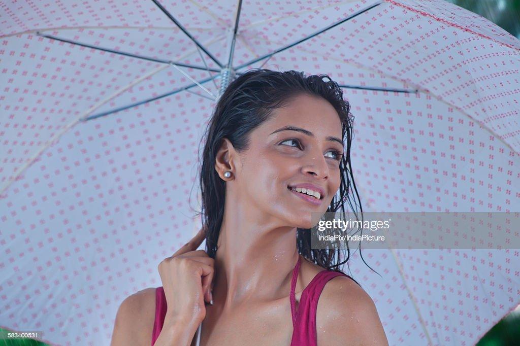 Woman with umbrella : Stock Photo