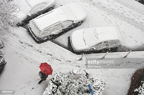 woman with umbrellas walking under snow - 2009 stock pictures, royalty-free photos & images