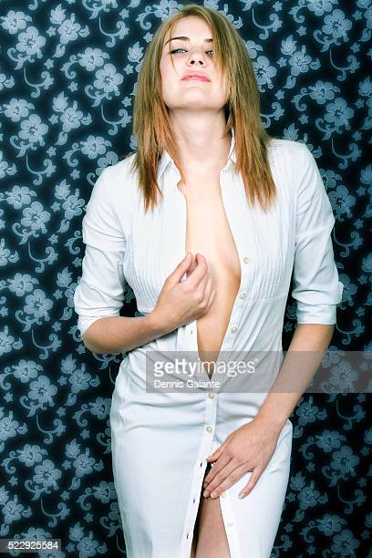Woman with Unbuttoned Dress