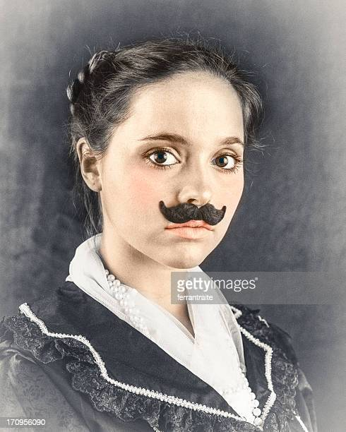 woman with victorian mustache - colonial style stock pictures, royalty-free photos & images