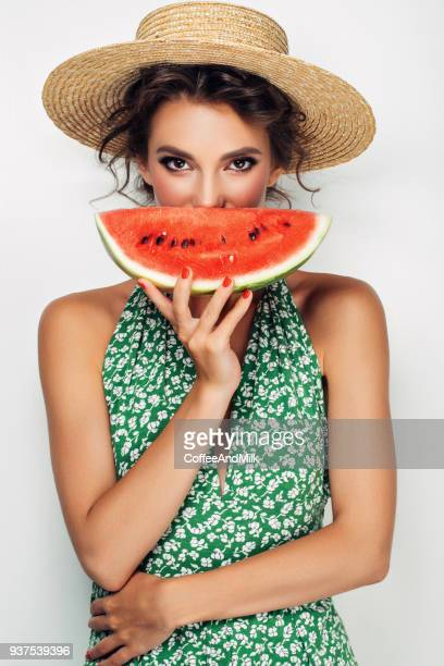 woman with water melon - watermelon stock pictures, royalty-free photos & images