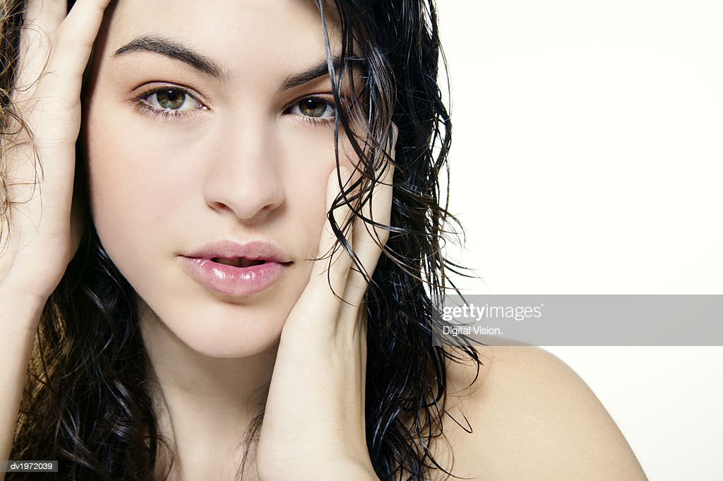 Woman With Wet Tousled Hair : Stock Photo