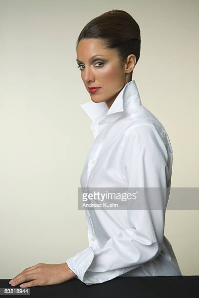 Woman with white shirt, portrait.