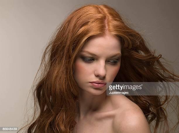 Woman with windblown hair