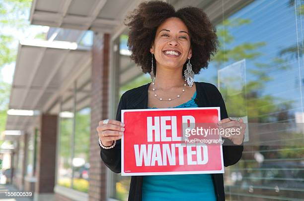 Woman withHelp Wanted Sign