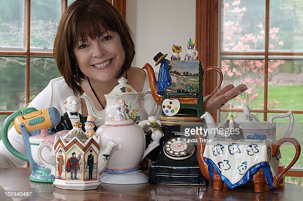 woman withteapots at table - collection stock pictures, royalty-free photos & images