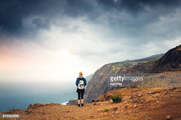 woman wnjoying the beautiful outdoors - ilha da madeira imagens e fotografias de stock