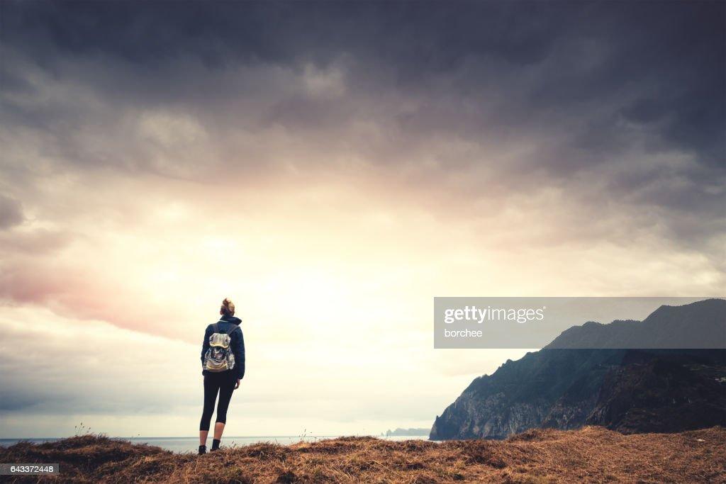 Woman Wnjoying The Beautiful Outdoors : Stock Photo
