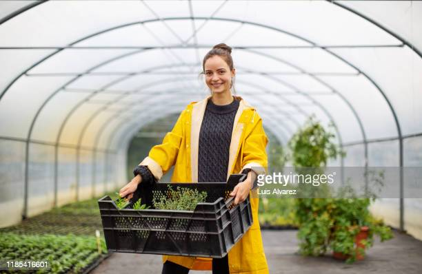 woman worker working in garden center - entrepreneur stock-fotos und bilder